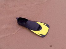 Fin sub. Stranded on beach Royalty Free Stock Photo