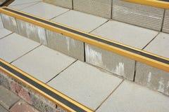Fin sur Protect contre la caisse glissante d'escalier de couverture de glace Comment éviter des étapes congelées par danger Image libre de droits