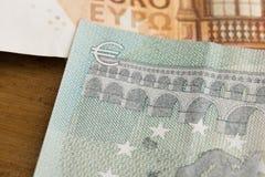 Fin vers le haut d'euro notes - image photos stock