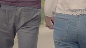Fin vers le haut de la longueur arrière des couples tenant des mains banque de vidéos
