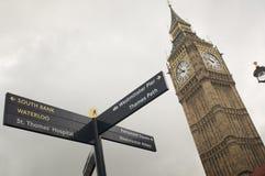 Fin vers le haut de la tour d'horloge de grand Ben à Londres Image libre de droits