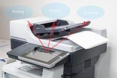 Fin vers le haut des feuilles de papier sur l'imprimante dans le bureau pour le balayage images libres de droits
