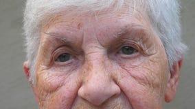 Fin vers le haut des yeux gris de la grand-mère avec des rides autour de elles Portrait de dame supérieure examinant la distance  clips vidéos