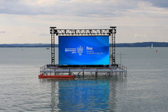 2017 FINA Budapest World Championships Balatonfüred Hungary. 17th FINA Budapest World Championships, Lake Balaton, Balatonfüred, Hungary, cloud weather. Open Stock Photo