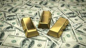 Fina guld- stänger på USD räkningar stock video