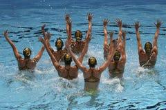 15. Fina-Weltmeisterschaft syncro, das technisches Team schwimmt Lizenzfreie Stockbilder
