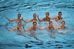 15. Fina-Weltmeisterschaft syncro Schwimmen techn Stockbild