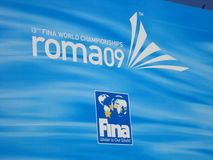 FINA World Championship. Logo demonstration world of swimming at the FINA World Championship - Roma 2009 Stock Photo