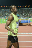 Final 2009 del atletismo del mundo del Mens el 100m del tornillo de Usain imagenes de archivo