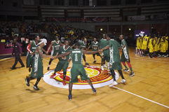 FINAL OF AFRO BASKET. The Nigerian national team motivated through war cries before the start of the final of the African basketball held in Ivory Coast Royalty Free Stock Images