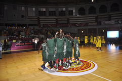 FINAL OF AFRO BASKET. The Nigerian national team motivated through war cries before the start of the final of the African basketball held in Ivory Coast Stock Photography