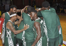 FINAL OF AFRO BASKET. The Nigerian national team motivated through war cries before the start of the final of the African basketball held in Ivory Coast Royalty Free Stock Photos