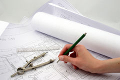 Final amendments. On building designs with pencil, ruler Royalty Free Stock Image