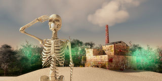 Final apocalypse. Skeleton waving and final apocalypse caused by pollution from industry Royalty Free Stock Photography