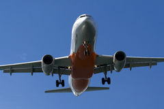 Final Approach. An Airbus A320 in landing configuration on final approach Royalty Free Stock Photos