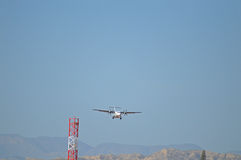 On Final Approach To Alicante Airport Stock Photo
