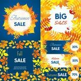 Final autumn sale banner set, flat style vector illustration