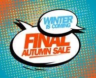 Final autumn sale pop-art design. Royalty Free Stock Photo