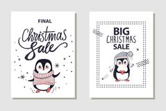 Final and Big Christmas Sale Vector Illustration. Final and big Christmas sale, posters with image of cute penguin wearing sweater and cute hat holding heart Stock Image