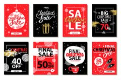 Final Big Christmas Sale Vector Illustration. Final big Christmas sale set of eight posters with xmas discount advert. Vector illustration decorated with doodles Stock Photo