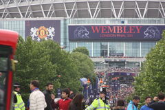 Final of Champions League in Wembley, London. The Wembley stadium in London hosts the final of Champions Leaugue 2011 between Barcelona (Spain) and Manchester stock photos