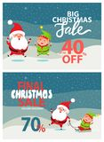 Final Christmas Sale Holiday Discount Posters Set. Final Christmas big sale holiday discount 40 70 off poster Santa and Elf riding on sleigh on winter landscape Royalty Free Stock Image