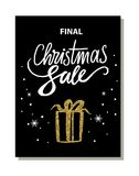 Final Christmas Sale Banner Vector Illustration. Final christmas sale, banner with image of present and bow of golden color, snowflakes and headline above Royalty Free Stock Images