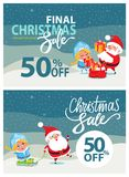 Final Christmas Sale Bbanner Santa Claus Snow Maiden. Final Christmas sale banner with Santa Claus and happy Snow maiden giving presents and riding on sleigh on Royalty Free Stock Photos