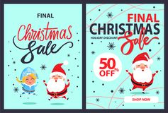Final Christmas Sale Goliday Discounts 50 Off Set. Final Christmas sale holiday discounts 50 off set of posters with dancing Santa Claus, Snow Maiden and Stock Photo