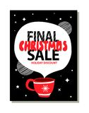 Final Christmas Sale Holiday Discount Advert. Poster with red cup wit drawn snowflake on it. Vector illustration with special offer on black background Royalty Free Stock Photo