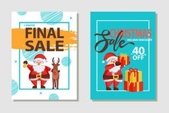 Christmas Sale Discount Set Vector Illustration. Final Christmas sale, holiday discount headlines and Santa Claus in traditional costume with presents and gift Stock Photography
