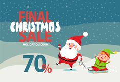 Final Christmas Sale Holiday Discount 70 Poster. Final Christmas sale holiday discount 70 off poster with Santa and Elf riding on sleigh on winter landscape Stock Photography