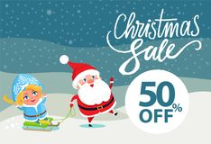 Final Christmas Sale Holiday Discount 50 Poster. Final Christmas sale holiday discount 50 off poster Santa and Snow Maiden riding on sleigh on winter landscape Royalty Free Stock Images