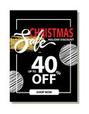Final Christmas Sale Holiday Discount Poster. With special offer clearance on dark background. Vector illustration with up to 40 off sale promotion Stock Images