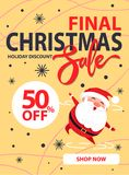 Final Christmas Sale Holiday Discount Poster Santa. Final Christmas sale holiday discount poster with happy jumping or dancing Santa Claus on beige background Royalty Free Stock Photography
