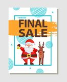 Final Christmas Sale Holiday Discount Poster Santa. Final Christmas sale holiday discount poster with Santa Claus greetings with friendly deer animal vector Stock Photos