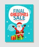 Final Christmas Sale Holiday Discount Poster Santa. Final Christmas sale holiday discount poster with Santa Claus sitting on gift boxes, greeting everyone with Royalty Free Stock Photos