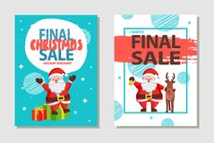 Final Christmas Sale Holiday Discount Poster Santa. Final Christmas sale holiday discount posters with Santa Claus sitting on gift boxes, greeting everyone with Stock Photos
