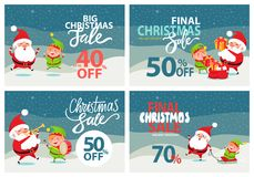 Final Christmas Sale Holiday Discount Posters Set. Final Christmas sale holiday discount 70 40 50 off posters with Santa and Elf riding on sleigh, playing Royalty Free Stock Photo