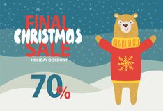 Final Christmas Sale Holiday Discount Promotion. On snowy background. Vector illustration with special offer with friendly bear dressed in knitted sweater Royalty Free Stock Images