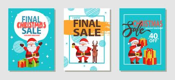 Final Christmas Sale Holiday Vector Illustration. Final Christmas sale holiday discount, set of posters with Santa Claus in good mood and reindeer beside him Stock Image