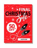 Final Christmas Sale Placard Vector Illustration. Final Christmas sale, holiday discount and shop now, placard with snowflakes and image of mittens that warm you Royalty Free Stock Image