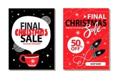 Final Christmas Sale Placards Vector Illustration. Final Christmas sale 50 off, holiday discount and shop now, placard with snowflakes and mittens, cup of hot Stock Images
