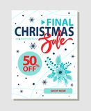 Final Christmas Sale 50 Off Promo Poster Shop Now. Final christmas sale 50 off promo poster with blue winter flower bouquets and snowflakes vector illustration Stock Photography