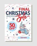 Final Christmas Sale 50 Off Promo Poster Shop Now. Final Christmas sale 50 off promo poster with bunny in hat, warm scarf on background of snowflakes vector Royalty Free Stock Photo
