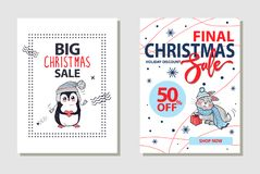 Final Christmas Sale Banner on Vector Illustration. Final Christmas sale and 50 off, shop now and holiday discount, letterings on banner with penguin in sweater Stock Photos