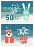 Final Christmas Sale Placards Vector Illustration. Final Christmas sale, up to 40 off, placards with snowflakes and rabbit in hat and scarf, puppy smiling and Stock Image