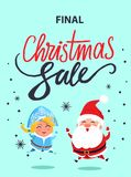 Final Christmas Sale Poster Jumping Santa Maiden. Final Christmas sale advertisement poster with jumping Santa Claus and Snow maiden in carnival costumes vector Royalty Free Stock Photos