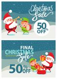 Final Christmas Sale Poster Vector Illustration. With pretty Elf in green suit and Santa Claus in red costume with musical istruments and gift boxes Stock Photography