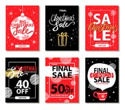 Final Christmas Sale Red Black Vector Illustration. Final Christmas sale on everything, red and black posters with headlines and ball, present and cup with hot Royalty Free Stock Photos